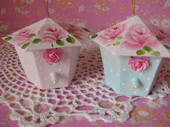 Birdhouse Ornament Paper Mache Aqua Pink Hand Painted Cottage Chic Pink Roses Set of 2