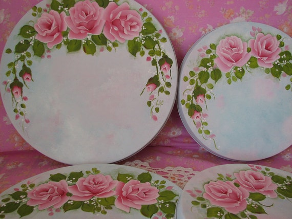 4 round stove top burner covers hand painted cottage chic pink