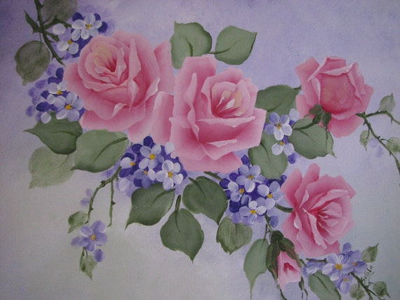 Hand painted pink roses purple flowers canvas acrylic painting for How to paint flowers with acrylics on canvas