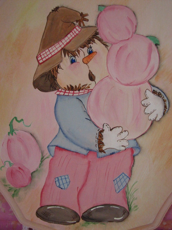 Fall Wall Decor Shabby Hand Painted Chic Pink Pumpkin, Scarecrow Autumn Wood Plaque