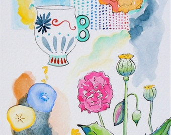 Garden Party No. 2 Original Watercolor Painting