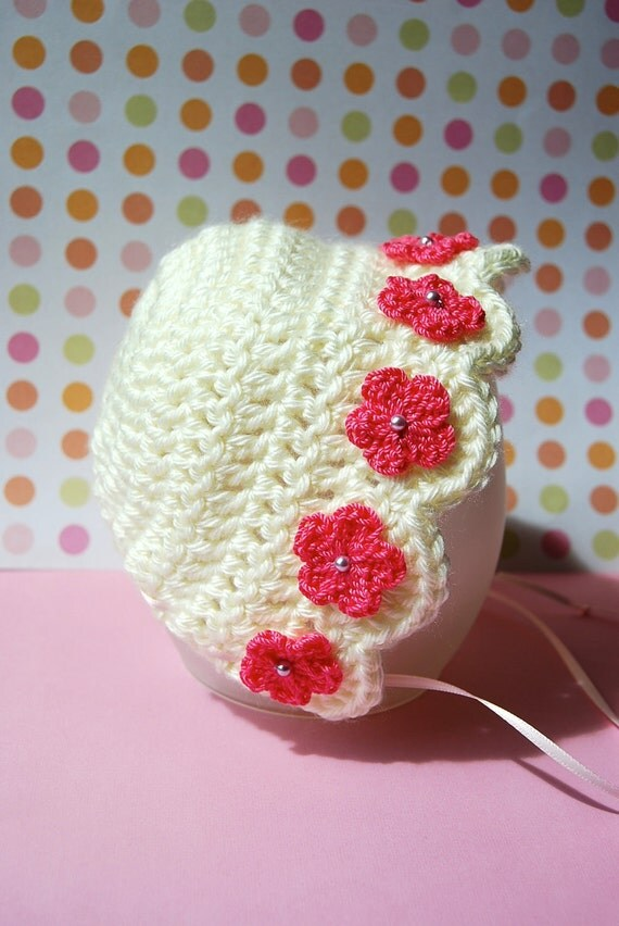 SALE....Adorable Small Newborn Bonnet... Cream with Pink Flowers.... Photography Prop