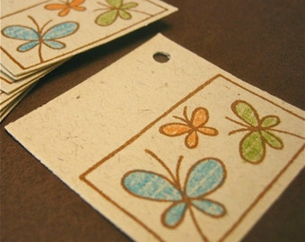 25 Butterfly tags, hand stamped and hand colored