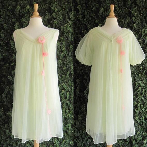 1960s Pale Green Chiffon Peignoir // Chiffon Robe and Gown Set // Palest Green Nylon Nightgown Set