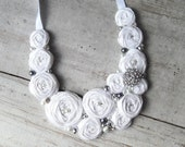 Bridal White Rosette, Rhinestone and Pearls Statement Necklace