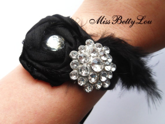 Black Rose and Rhinestone Wrist Corsage