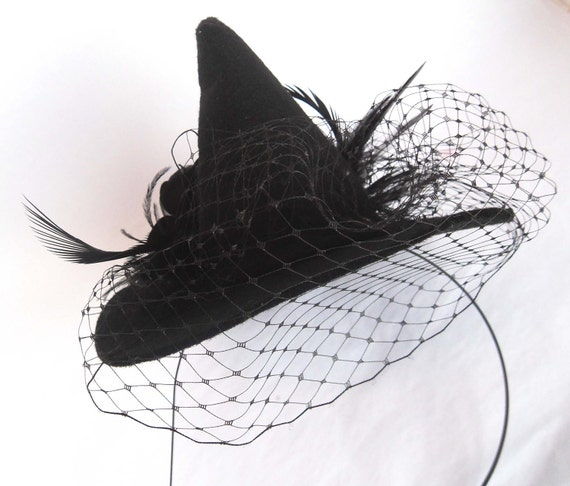 Black Rose Veiled Mini Witch Hat