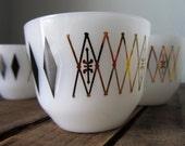 Retro Vintage Federal Glass Co Small Cup, Mug, Teacup, Ramekin, Set of Five