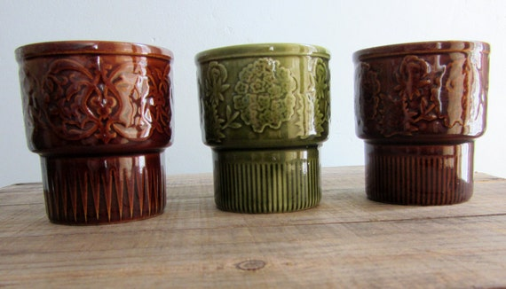 Vintage Japanese Stacking Mugs, set of three, brown and green
