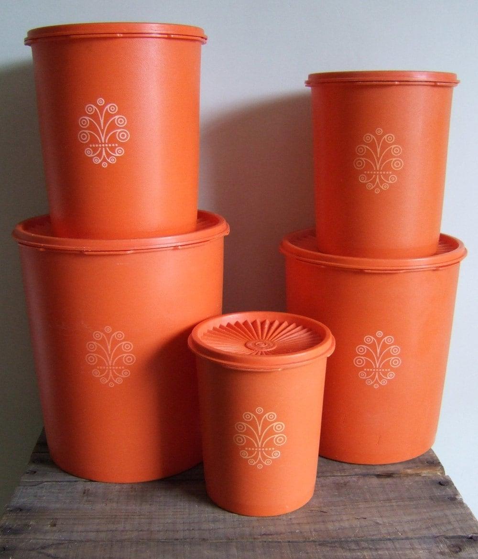 Orange Kitchen Set: Orange Tupperware Kitchen Nesting Storage Canister Set Of 5