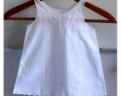 Vintage 50's White Basket Embroidered Baby Dress Slip