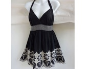 Vintage 70s Babydoll Top Mini Dress size 36 Chest Black White Halter Embroidery Cotton