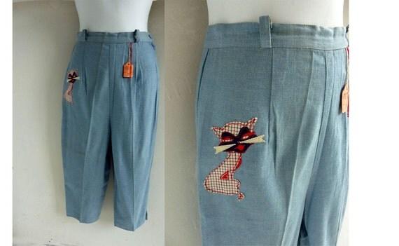 NWT Vintage 50s Pants Size 8 Slacks Light Blue Chambray Denim Kitty Cat Capris Pedal Pushers 60s