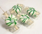 Green White Candy Wrapper Christmas Mint Lampwork BEADS......4 Beads....25x15mm