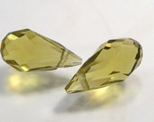 2 BEADS....Light Olive Green Quartz Glass Faceted Teardrop Briolette Beads.....14x7mm...BB