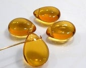 4 Beads....Golden Topaz Smooth Puffed Quartz Glass Briolette Beads....16x12mm