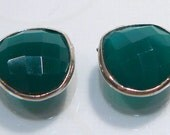 Green Onyx Teardrop Sterling Silver Bezel Set  Gemstones.....2 Beads...13x13mm