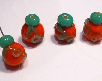 Fall Autumn Pumpkin Gourd Lampwork Beads...4 Beads...14x12mm