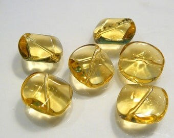 6 BEADS...Citrine Geometric Coin Quartz Glass BEADS...15mm...BB