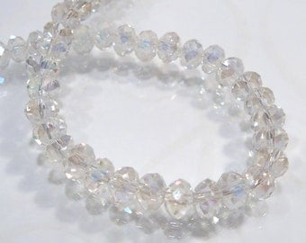 12 BEADS.... Clear Quartz Glass Faceted Rondelle Beads....6X4mm.
