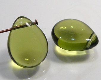 2 Beads....Olive Green Czech Glass Smooth Puffed Briolette Beads....16x12mm