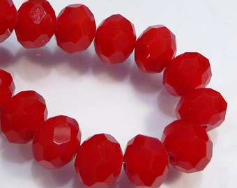 10 Beads...Velvet Ruby RED Quartz Glass Faceted Rondelle Beads...6x4mm....BB