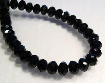 8  BEADS...Black Quartz Glass Faceted Rondelle BEADS.8x6mm...BB