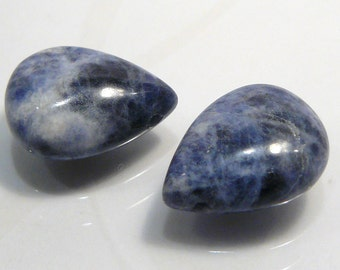 2 BEADS....Blue Sodalite Puffed Smooth Briolette Gemstone Beads....16x12mm...BB