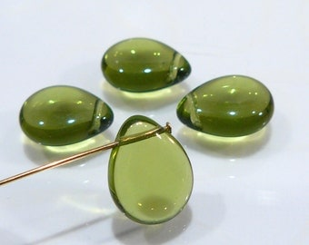 4 Beads....Olive Green Czech Glass Smooth Puffed Briolette Beads....16x12mm