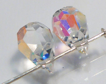 2 BEADS....Rainbow Clear  Glass Faceted Teardrop Briolette Beads.....10x6mm