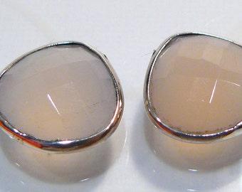 2 Beads...Rose Quartz Faceted Teardrop Sterling Silver Bezel Set  Gemstones.....13x13mm...BB