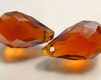2 Beads...Amber Glass Faceted Briolette Teardrop beads....13x8mm...BB