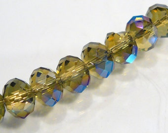 10 Beads....Olive Green Blue Flash Mystic Quartz Glass Faceted  Rondelle Beads...8x5mm