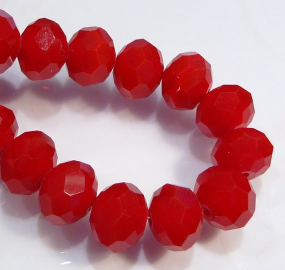Red Ruby Beads: CLOSE OUT SALE: 36 Velvet Ruby Red Quartz Glass Faceted