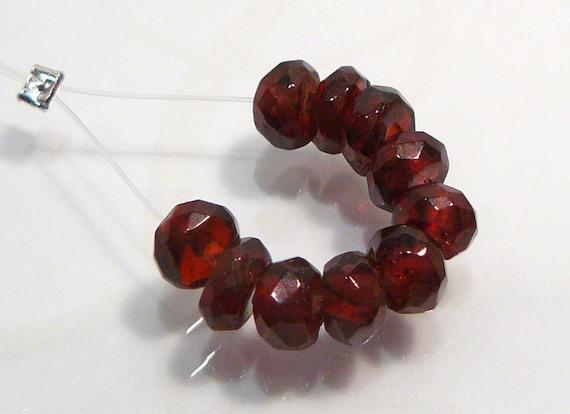 10 Beads....Genuine Garnet Faceted Rondelle Gemstone Beads....5mm...BB