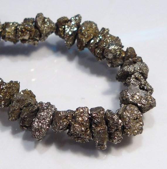 6 Beads...Golden Druzy Pyrite Gemstone Nugget Beads....8-12mm....BB