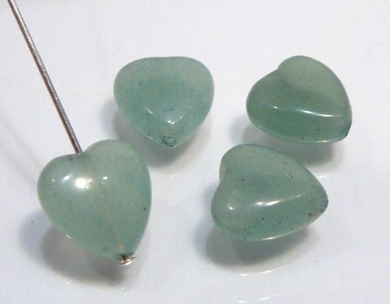 4 Beads ....Green Aventurine smooth Heart Briolette Gemstone Beads...10mm...BB