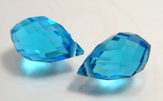 2 Beads... Aquamarine  Blue Glass Faceted Briolette Teardrop beads....13x8mm...BB