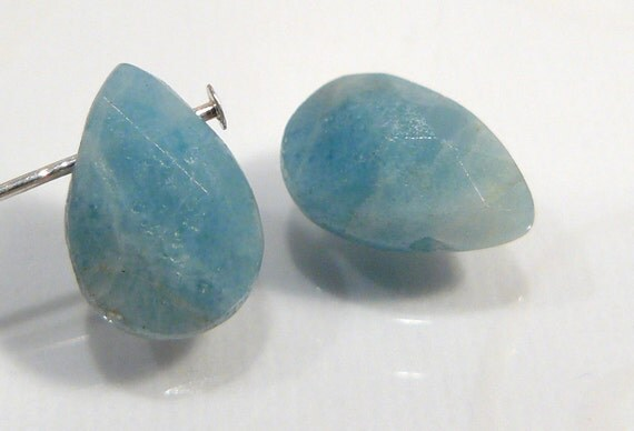 2 Beads..Blue Amazonite Faceted Briolette Gemstone Beads..12x8mm...BB