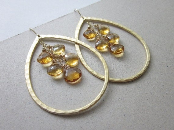 Citrine Hoop Earrings: GOLD Textured BIG