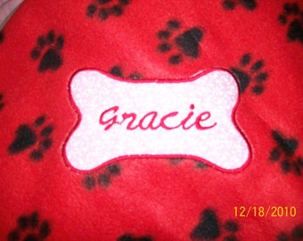 PET DOG CAT Fleece Blanket Personalized Handcrafted 40x40