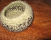 Small gray and green felted bowl