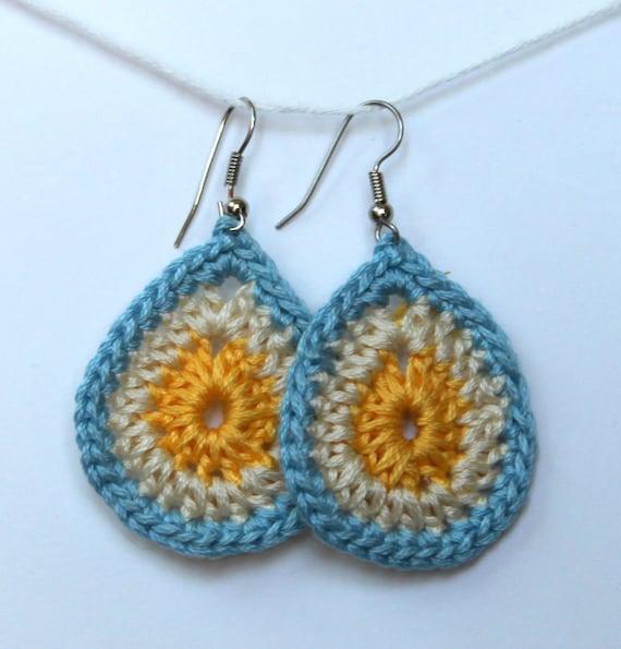 Crochet Hook Earrings: Teardrop Crochet Earrings In Yellow And Light Blue