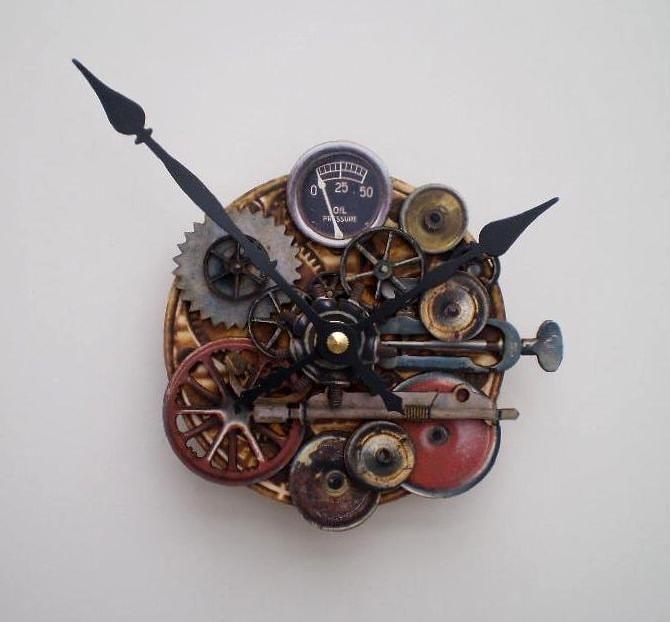 Steampunk clock with pressure gauge by cybermoon on etsy - Steampunk pressure gauge ...