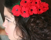 Red and Black Flower Cluster Hairwrap Resered for nandaj
