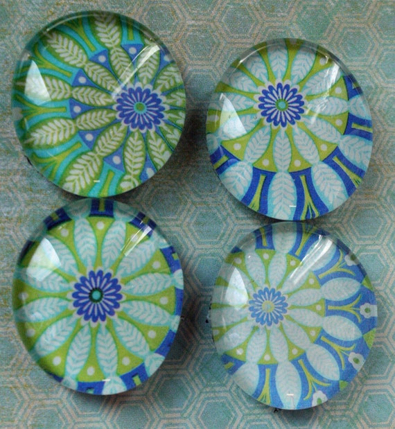 Blue, White and Lime Flower Magnets