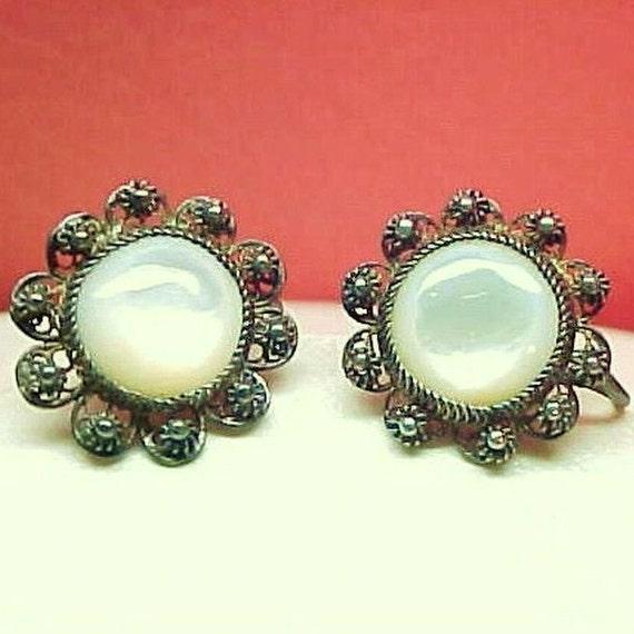 Vintage Old Filigree Silver Mother of Pearl Screw Back Earrings