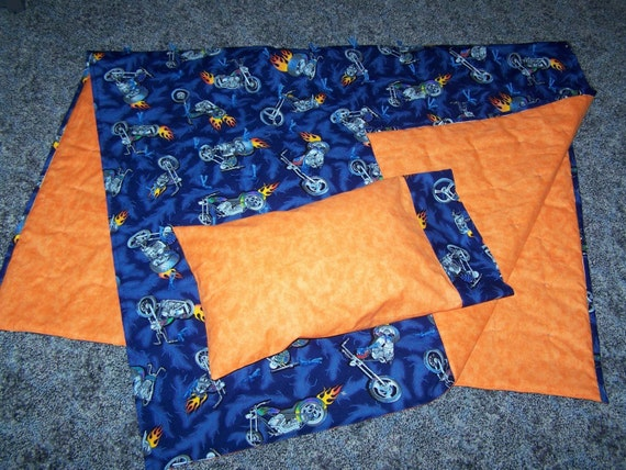 New MOTORCYCLE crib quilt and pillow