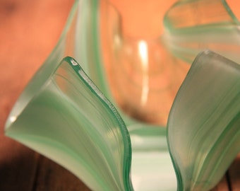 Glass Votive Holder Green, White, and Clear