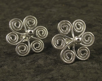 Silver Swirl Stud Earrings * Argentium Sterling Posts - MetalRocks Original Design *  Well Healed Collection * Tribal * Ladies Gift * SS